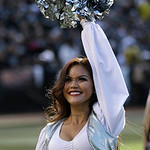 An Oakland Raiders cheerleader performs during the first half of an NFL football game between the Oakland Raiders and the Cleveland Browns in Oakland, Calif., Sunday, Dec. 2, 2012. (AP Photo …