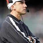 Oakland Raiders head coach Dennis Allen watches during the first half of an NFL football game against the Cleveland Browns in Oakland, Calif., Sunday, Dec. 2, 2012. (AP Photo/Tony Avelar)