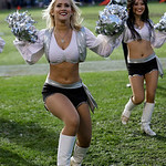 Oakland Raiders cheerleaders perform during the first half of an NFL football game between the Oakland Raiders and the Cleveland Browns in Oakland, Calif., Sunday, Dec. 2, 2012. (AP Photo/Ma …