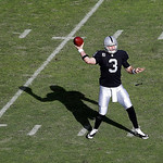 Oakland Raiders quarterback Carson Palmer (3) passes against the Cleveland Browns during the first quarter of an NFL football game in Oakland, Calif., Sunday, Dec. 2, 2012. (AP Photo/Marcio  …