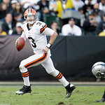 Cleveland Browns quarterback Brandon Weeden (3) scrambles against the Oakland Raiders during the first half of an NFL football game in Oakland, Calif., Sunday, Dec. 2, 2012. (AP Photo/Tony A …
