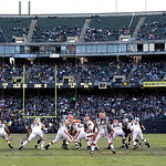The Cleveland Browns offense faces the Oakland Raiders defense during the first half of an NFL football game in Oakland, Calif., Sunday, Dec. 2, 2012. (AP Photo/Marcio Jose Sanchez)