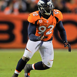 Denver Broncos defensive end Elvis Dumervil rushes during  an NFL football game against the Cleveland Browns, Sunday, Dec. 23, 2012, in Denver. Denver beat Cleveland 34-12.(AP Photo/Jack Dem …