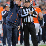 Denver Broncos head coach John Fox points to the video on the scoreboard as he talks to an official during the fourth quarter of an NFL football game against the Cleveland Browns, Sunday, De &#8230;