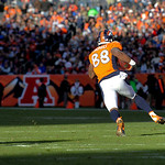 Denver Broncos wide receiver Demaryius Thomas (88) runs the ball up field against the Cleveland Browns after catching a pass in the second quarter of an NFL football game, Sunday, Dec. 23, 2 …