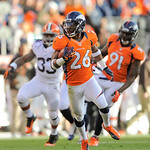 Denver Broncos free safety Rahim Moore (26) runs with the football after a second quarter interception during a NFL football game against the Cleveland Browns, Sunday, Dec. 23, 2012, in Denv …