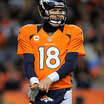 Denver Broncos quarterback Peyton Manning adjust his glove during an NFL football game against the Cleveland Browns, Sunday, Dec. 23, 2012, in Denver. (AP Photo/Jack Dempsey)