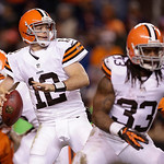 Cleveland Browns quarterback Colt McCoy (12) steps back to pass as running back Trent Richardson (33) blocks against the Denver Broncos in the fourth quarter of an NFL football game, Sunday, &#8230;