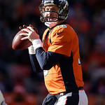 Denver Broncos quarterback Peyton Manning sets up to throw a pass against the Cleveland Browns during an NFL football game, Sunday, Dec. 23, 2012, in Denver. The Broncos won 34-12.(AP Photo …