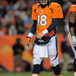 Denver Broncos quarterback Peyton Manning is pictured during an NFL football game against the Cleveland Browns, Sunday, Dec. 23, 2012, in Denver. (AP Photo/Jack Dempsey)