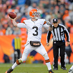 Cleveland Browns quarterback Brandon Weeden throws a  pass against the Denver Broncos in a  NFL football game, Sunday, Dec. 23, 2012, in Denver. (AP Photo/Jack Dempsey)