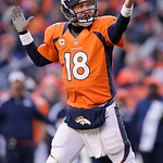 Denver Broncos quarterback Peyton Manning calls a play in the third quarter of an NFL football game against the Cleveland Browns, Sunday, Dec. 23, 2012, in Denver. (AP Photo/Joe Mahoney)