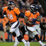 Denver Broncos quarterback Peyton Manning (18) hands the ball off to running back Knowshon Moreno during an NFL football game against the Cleveland Browns, Sunday, Dec. 23, 2012, in Denver. …