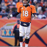Denver Broncos quarterback Peyton Manning reacts during the third quarter of an NFL football game against the Cleveland Browns, Sunday, Dec. 23, 2012, in Denver. (AP Photo/Joe Mahoney)