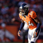 Denver Broncos cornerback Champ Bailey guards his territory during an NFL football game against the Cleveland Browns, Sunday, Dec. 23, 2012, in Denver. (AP Photo/Joe Mahoney)