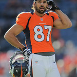 Denver Broncos wide receiver Eric Decker is pictured on the field before an NFL football game between the Denver Broncos and the Cleveland Browns, Sunday, Dec. 23, 2012, in Denver. (AP Photo …