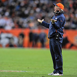 Denver Broncos head coach John Fox questions a call during an NFL football game against the Cleveland Browns, Sunday, Dec. 23, 2012, in Denver. The Broncos won 34-12. (AP Photo/Jack Dempsey)