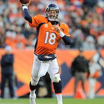 Denver Broncos quarterback Peyton Manning  throws a pass against the Cleveland Browns in the fourth quarter of an NFL football game, Sunday, Dec. 23, 2012, in Denver. (AP Photo/Jack Dempsey)