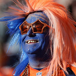 A Denver Broncos fans wears his best face during an NFL football game between the Denver Broncos and the Cleveland Browns, Sunday, Dec. 23, 2012, in Denver. (AP Photo/Julie Jacobson)