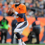 Denver Broncos quarterback Peyton Manning sets up to throw a pass against the Cleveland Browns in the fourth quarter of an NFL football game, Sunday, Dec. 23, 2012, in Denver. (AP Photo/Jack …