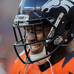 Denver Broncos wide receiver Demaryius Thomas reacts after a play in the fourth quarter of an NFL football game against the Cleveland Browns, Sunday, Dec. 23, 2012, in Denver. (AP Photo/Jack …