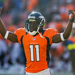 Denver Broncos wide receiver Trindon Holliday reacts during an NFL football game against the Cleveland Browns, Sunday, Dec. 23, 2012, in Denver. (AP Photo/Julie Jacobson)