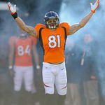 Denver Broncos tight end Joel Dreessen waves as he is introduced before  an NFL football game against the Cleveland Browns, Sunday, Dec. 23, 2012, in Denver. (AP Photo/Jack Dempsey)