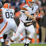 Cleveland Browns quarterback Colt McCoy reaches to hand the ball off in the fourth quarter of an NFL football game against the Denver Broncos, Sunday, Dec. 23, 2012, in Denver. (AP Photo/Jac …