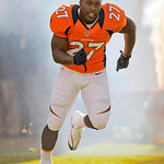 Denver Broncos running back Knowshon Moreno runs onto the field during introductions before  of an NFL football game against the Cleveland Browns, Sunday, Dec. 23, 2012, in Denver. (AP Photo …