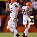 Cleveland Browns quarterback Colt McCoy (12) walks off the field after being sacked by the Denver Broncos in the fourth quarter of an NFL football game, Sunday, Dec. 23, 2012, in Denver. Den &#8230;