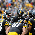 Pittsburgh Steelers quarterback Ben Roethlisberger (7) calls signals in the huddle in the third quarter of an NFL football game against the Cleveland Browns on Sunday, Dec. 30, 2012, in Pitt …
