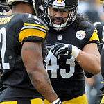 Pittsburgh Steelers strong safety Troy Polamalu (43) and outside linebacker James Harrison (92) talks in the first half of an NFL football game against the Cleveland Brownson Sunday, Dec. 30 …