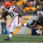 Cleveland Browns running back Montario Hardesty (20) evades Pittsburgh Steelers inside linebacker Lawrence Timmons (94) in the second quarter of an NFL football game in Pittsburgh, Sunday, D …