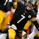 Pittsburgh Steelers quarterback Ben Roethlisberger (7) is hit from behind by Cleveland Browns nose tackle Ishmaa'ily Kitchen (67) after getting off a pass during the third quarter of an NFL  …