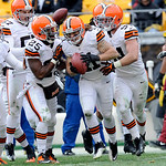 Cleveland Browns'  Raymond Ventrone (41) celebrates with his teammates after making a first down on a fake punt in the third quarter of an NFL football game against the Pittsburgh Steelers o …