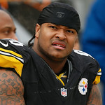 Pittsburgh Steelers defensive end Ziggy Hood (96) sits on the sidelines during the fourth quarter of an NFL football game against the Cleveland Browns in Pittsburgh, Sunday, Dec. 30, 2012. T …