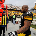 Pittsburgh Steelers outside linebacker James Harrison (92) walks off Heinz Field following a 24-10 win over the Cleveland Browns in an NFL football game in Pittsburgh, Sunday, Dec. 30, 2012. …