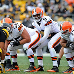 Cleveland Browns quarterback Thad Lewis (9) lines up under center against the Pittsburgh Steelers during the first quarter of an NFL football game on Sunday, Dec. 30, 2012, in Pittsburgh. Pi …