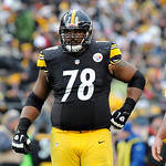 Pittsburgh Steelers tackle Max Starks (78) in a the huddle during the fourth quarter of an NFL football game against the Cleveland Browns on Sunday, Dec. 30, 2012, in Pittsburgh. Pittsburgh  …