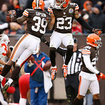 Cleveland Browns cornerback Joe Haden (23) celebrates with Tashaun Gipson (39) after Gipson intercepted a Kansas City Chiefs pass in the third quarter of an NFL football game in Cleveland, S …