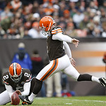 Cleveland Browns kicker Phil Dawson (4) kicks a field goal, his 300th career, against the Kansas City Chiefs in the third quarter of  an NFL football game in Cleveland, Sunday, Dec. 9, 2012. …