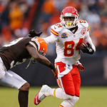 Kansas City Chiefs wide receiver Jamar Newsome (84) fights off Cleveland Browns cornerback Tashaun Gipson in the fourth quarter of an NFL football game in Cleveland, Sunday, Dec. 9, 2012. Th …