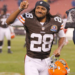 Cleveland Browns defensive back Usama Young celebrates after the Browns defeated the Kansas City Chiefs 30-7 in an NFL football game Sunday, Dec. 9, 2012, in Cleveland. (AP Photo/Tony Dejak)