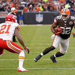 Cleveland Browns tight end Benjamin Watson (82) tries to avoid Kansas City Chiefs cornerback Javier Arenas (21) during an NFL football game Sunday, Dec. 9, 2012, in Cleveland. (AP Photo/Tony …