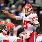 Kansas City Chiefs quarterback Brady Quinn signals at the line in the first half of of an NFL football game against the Cleveland Browns Sunday, Dec. 9, 2012, in Cleveland. (AP Photo/Tony De …
