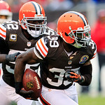 Cleveland Browns cornerback Tashaun Gipson (39) returns an interception against the Kansas City Chiefs in the thid quarter of an NFL football game, Sunday, Dec. 9, 2012, in Cleveland. Browns …