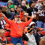 A Cleveland Browns fans reacts after a Kansas City Chiefs touchdown in the first quarter of an NFL football game Sunday, Dec. 9, 2012, in Cleveland. (AP Photo/Tony Dejak)