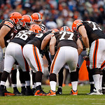 The Cleveland Browns offense huddles in the third quarter of an NFL football game against the Kansas City Chiefs in Cleveland, Sunday, Dec. 9, 2012. (AP Photo/Rick Osentoski)