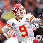 Kansas City Chiefs quarterback Brady Quinn passes against the Cleveland Browns in the second quarter of an NFL football game in Cleveland, Sunday, Dec. 9, 2012. (AP Photo/Rick Osentoski)