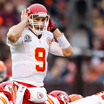 Kansas City Chiefs quarterback Brady Quinn (9) gets set to run a play against the Cleveland Browns during an NFL football game in Cleveland, Sunday, Dec. 9, 2012. (AP Photo/Rick Osentoski)